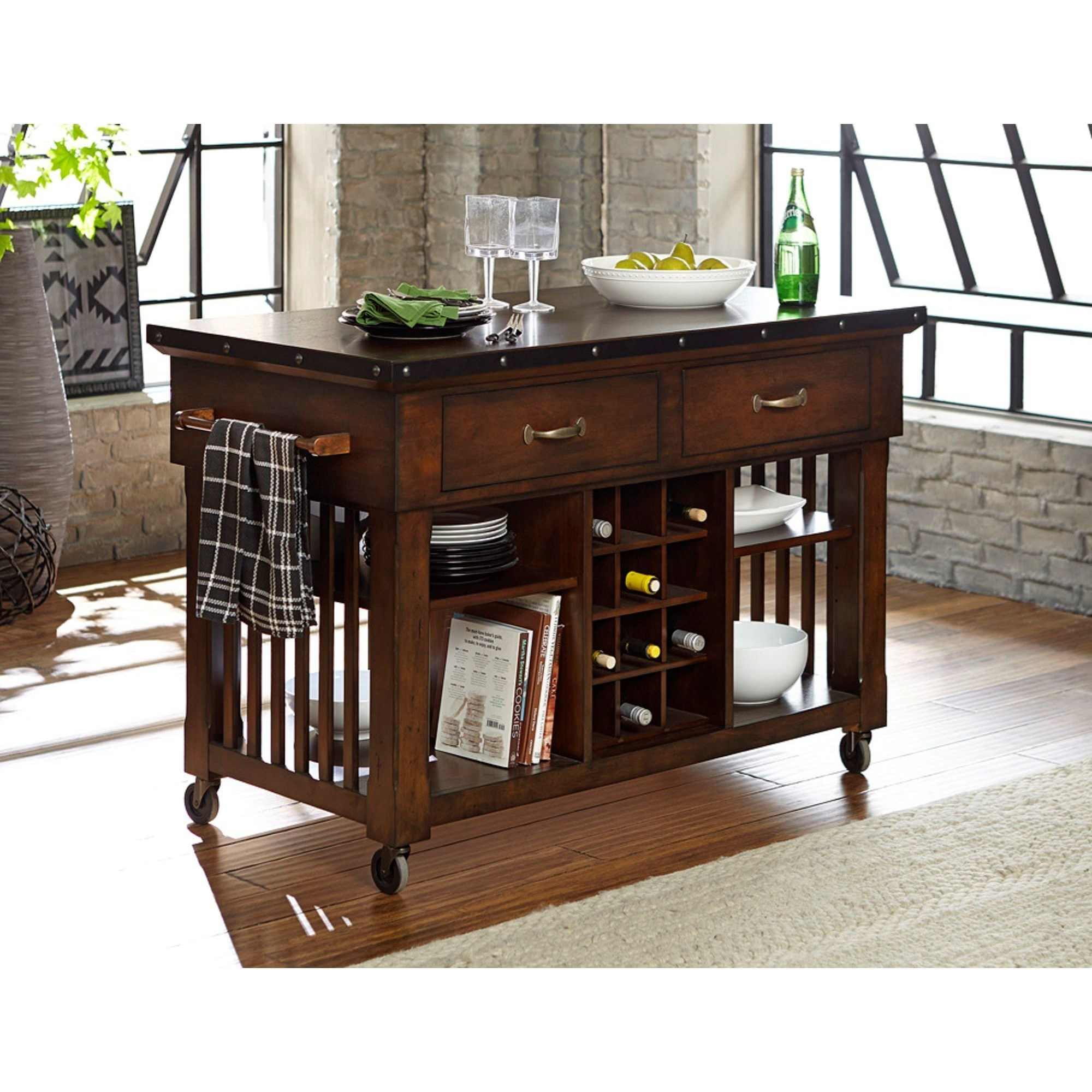 kitchen island cart industrial furniture schleiger industrial kitchen island cart with metal trim and decorative nail heads by homelegance