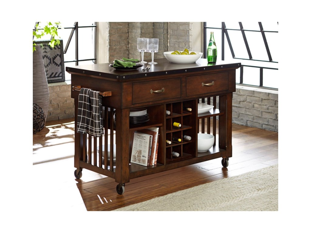 Schleiger Industrial Kitchen Island Cart With Metal Trim And Decorative Nail Heads By Homelegance At Value City Furniture