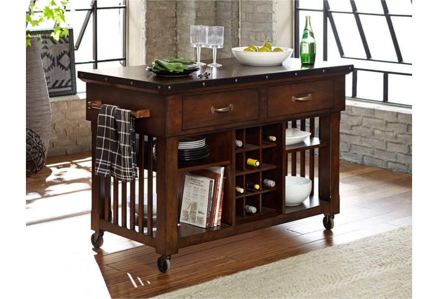 Homelegance Schleiger Industrial Kitchen Island Cart With Metal Trim And Decorative Nail Heads Lindy S Furniture Company Kitchen Islands