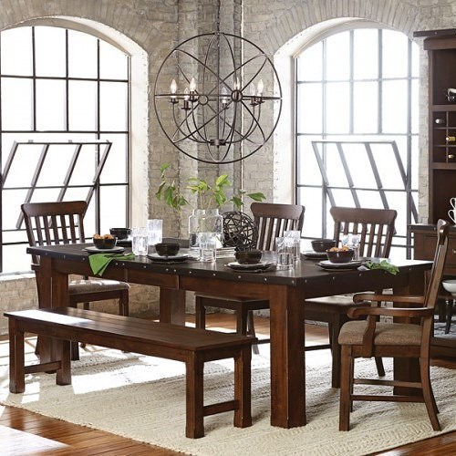 Homelegance Schleiger Industrial Table and Chair Set with Bench