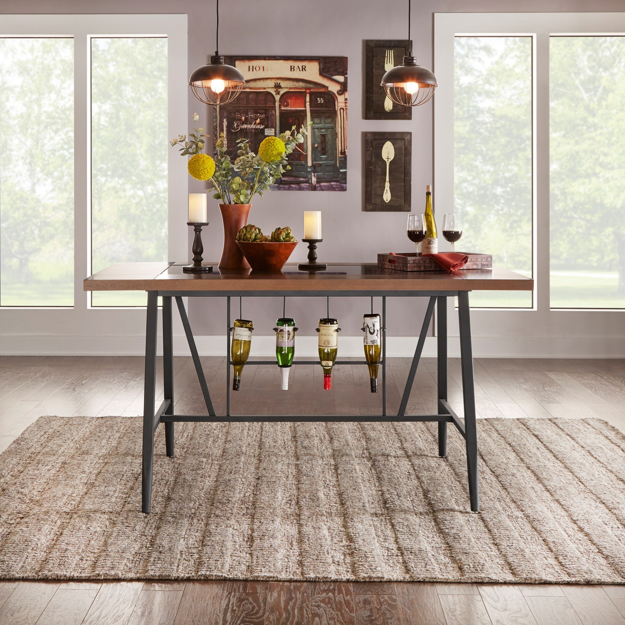 Selbyville Contemporary Counter Height Table With Built In Wine Storage And  Glass Insert By Homelegance