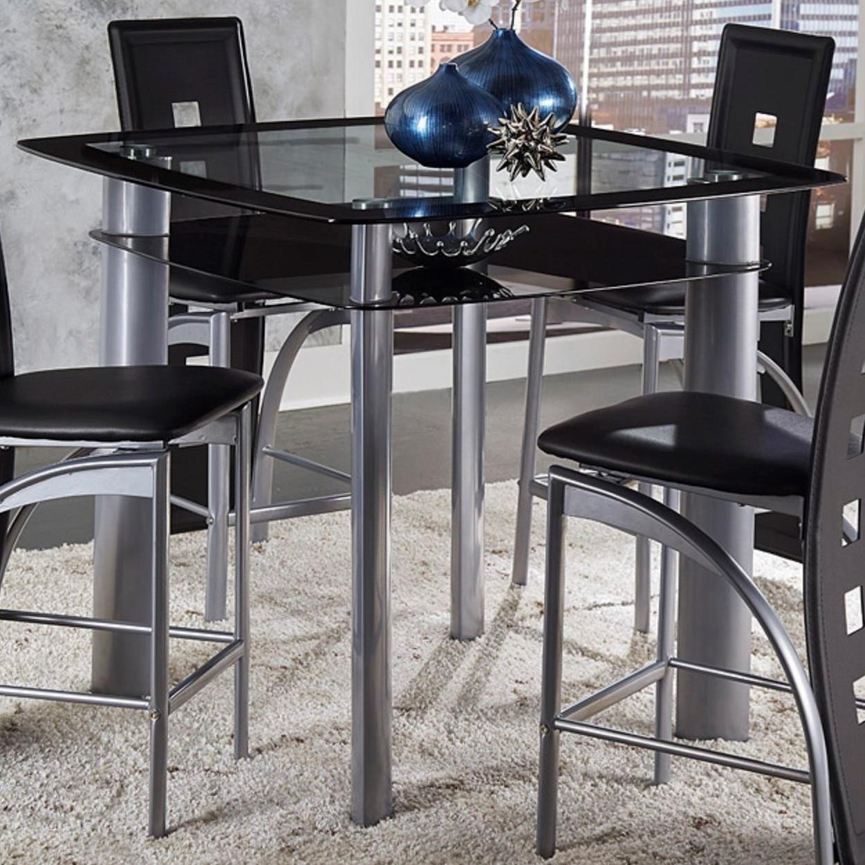 Genial Sona Counter Height Table With Glass Top And Shelf By Homelegance