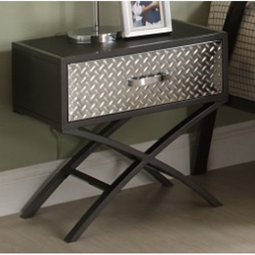 Homelegance Spaced Out Contemporary Youth Night Stand With Diamond Plate  Texture And Chrome Finish