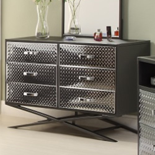 Homelegance Spaced Out Contemporary Youth Dresser with Diamond Plate Texture and Chrome Finish