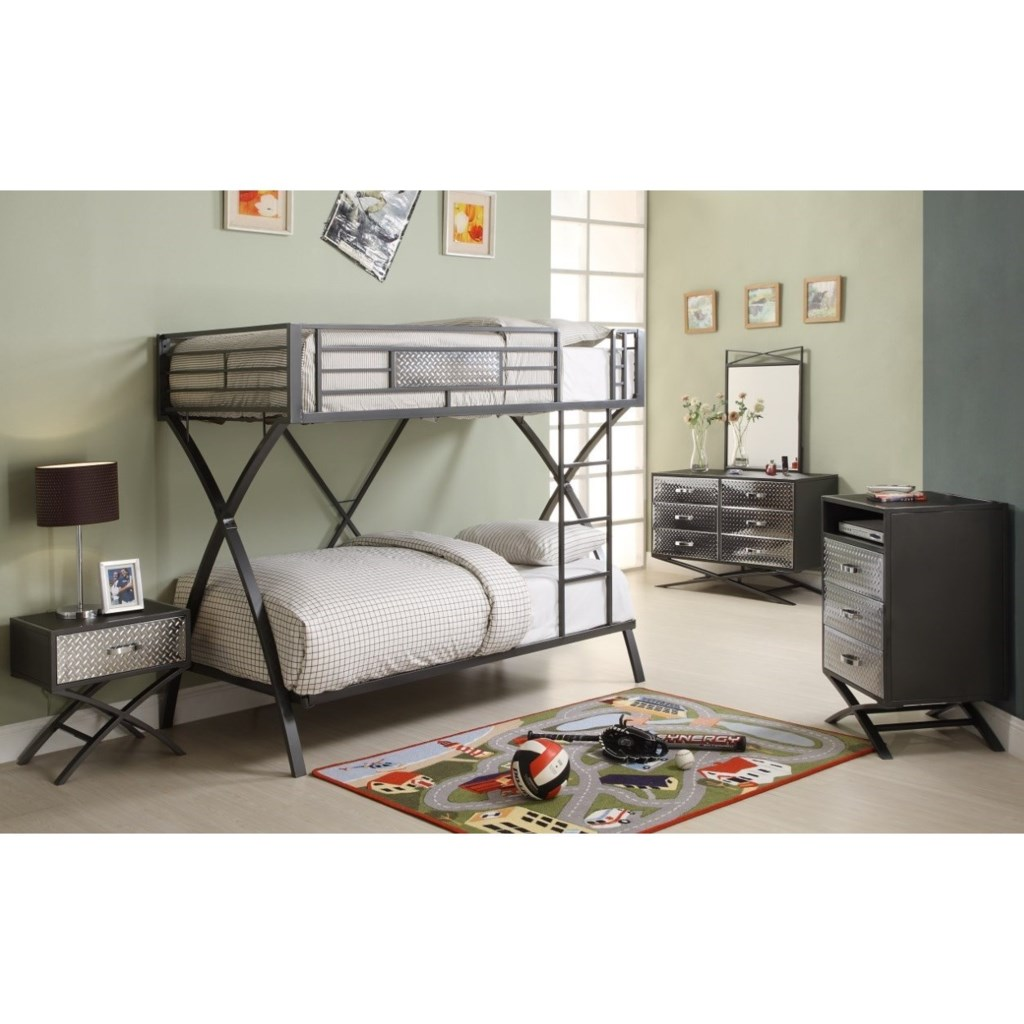 Homelegance Spaced Out Contemporary Bunk Bed With Chrome Accents