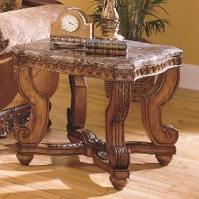 Homelegance Tarantula Traditional Burnished Brown Cherry & Marble End Table
