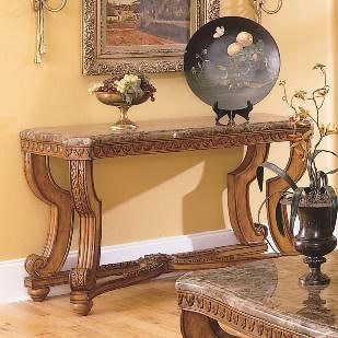 Homelegance Tarantula Traditional Burnished Brown Cherry & Marble Sofa Table