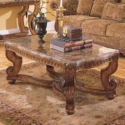 Homelegance Tarantula Traditional Burnished Brown Cherry Marble Tail Table