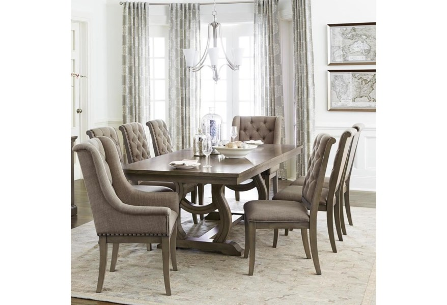 Homelegance Furniture Vermillion 5442-96+96B+2xA+6xS Transitional Dining Table Set With 8 Chairs | Del Sol Furniture | Dining 7 (or More) Piece Sets