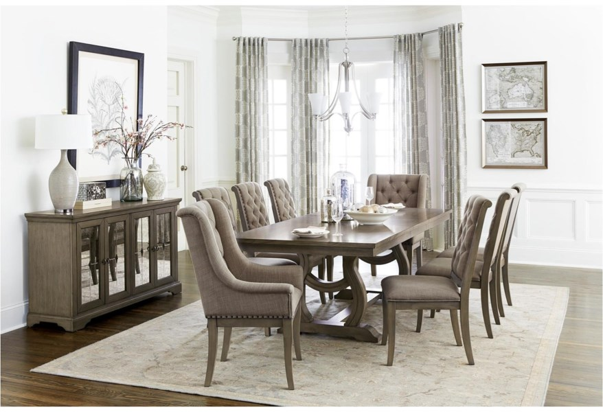 Homelegance Vermillion 349475370 Transitional Dining Table Set with 6 Chairs   Beck's Furniture   Dining 7 (or more) Piece Sets