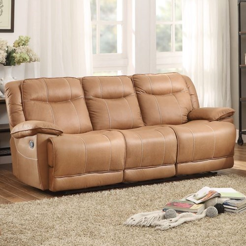 Homelegance Wasola Casual Reclining Sofa With 3 Reclining Seats