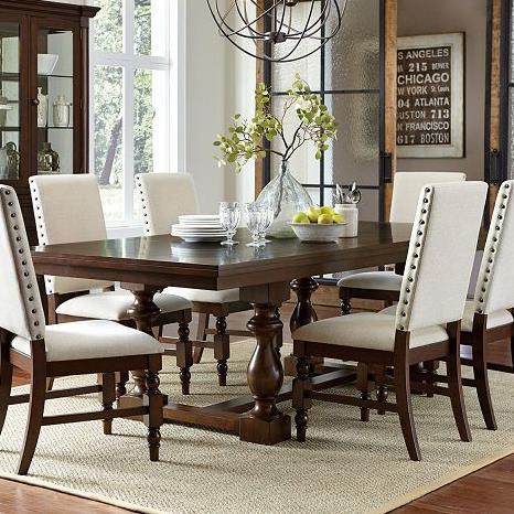 homelegance yates turned leg trestle dining table