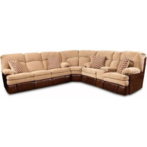 HomeStretch 103 Chocolate Series Reclining Corner Sectional Sofa with Right Side Cup-Holder Console for Family Rooms