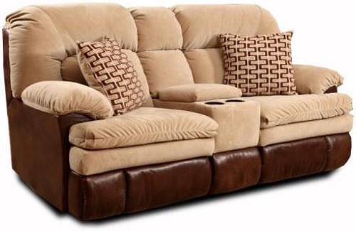 HomeStretch 103 Chocolate Series Comfortable Console Loveseat with Reclining Chairs