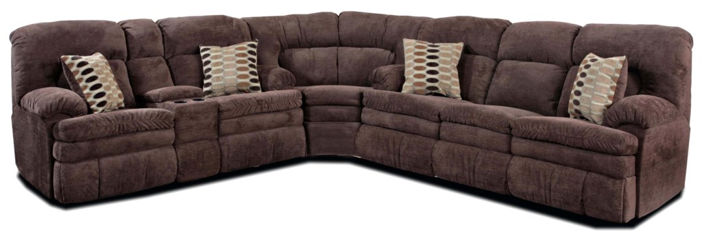 HomeStretch 103 Chocolate Series Reclining Corner Sectional Sofa