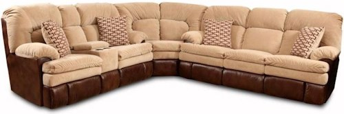 HomeStretch 103 Chocolate Series Reclining Corner Sectional Sofa with Left Side Cup-Holder Console for Family Rooms