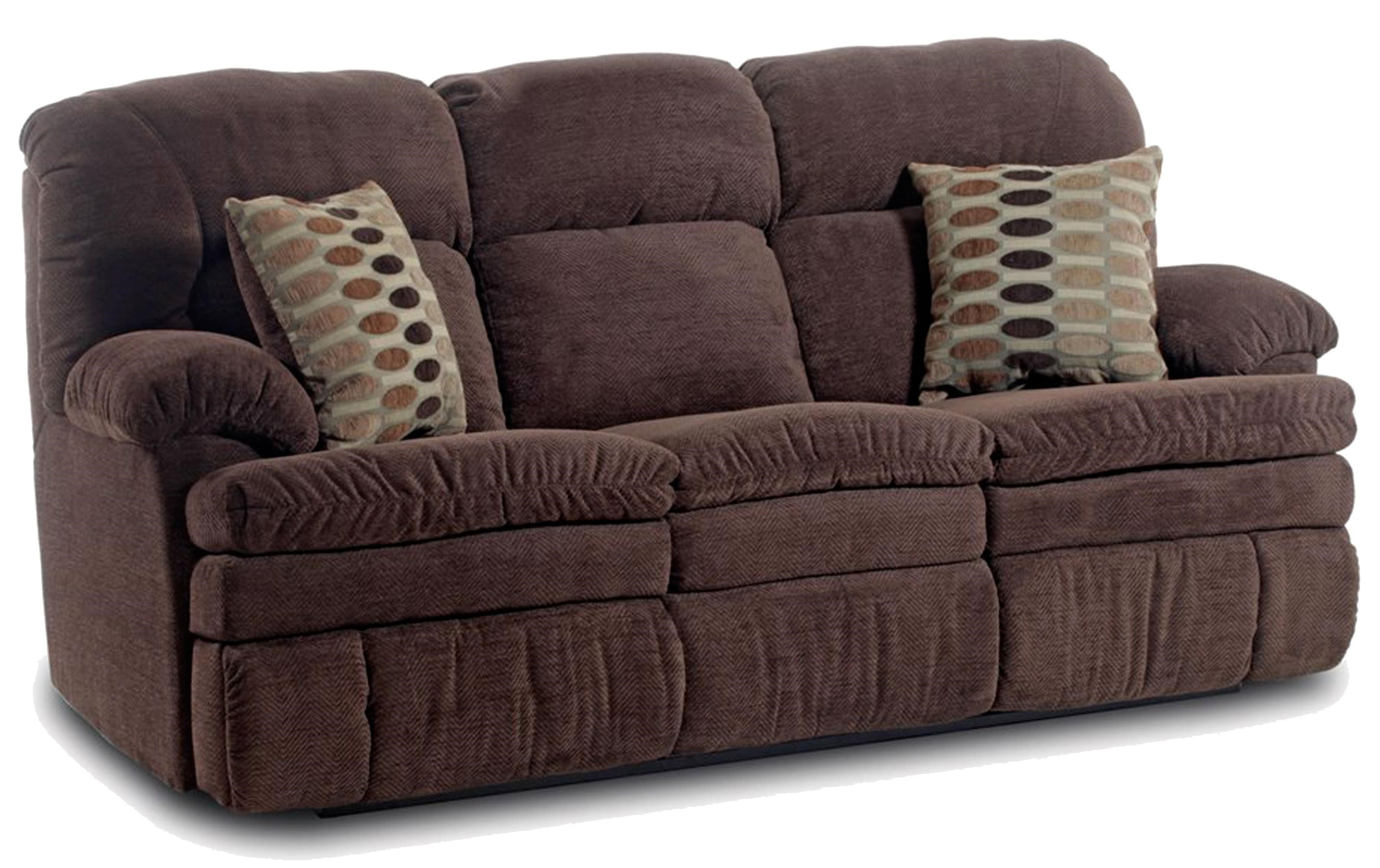 HomeStretch 103 Chocolate Series Double Reclining Sofa With Oversized Top  Seat Cushion
