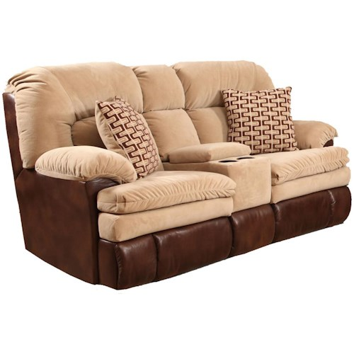 HomeStretch 103 Casual Console Love Seat with 2 Accent Pillows