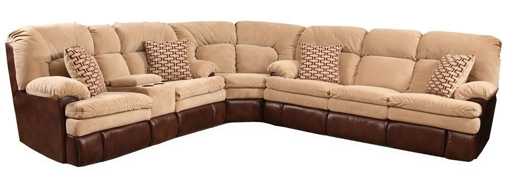 HomeStretch 103 3 Piece Casual Two Tone Reclining Sofa Sectional   Miskelly  Furniture   Reclining Sectional Sofa