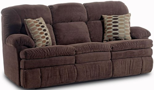 HomeStretch 103 Casual Double Reclining Sofa with 2 Accent Pillows