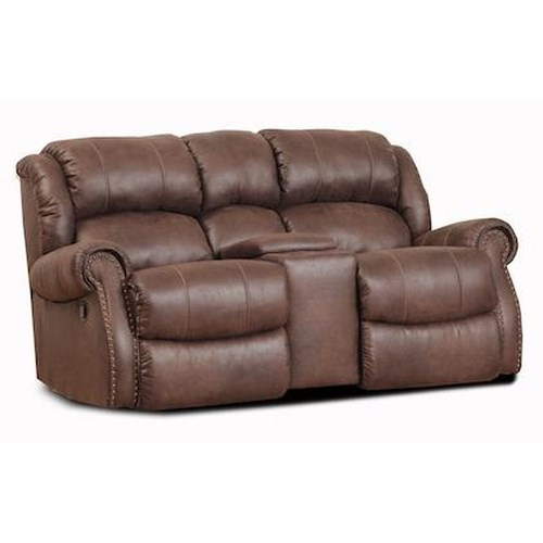HomeStretch 120 - 22 Rocking Console Loveseat w/ Nailhead Trim
