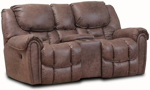 HomeStretch 122 Casual Reclining Loveseat with Storage in Arm