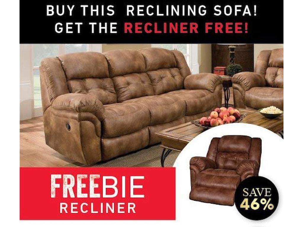 Morris Home Furnishings ElijahElijah Reclining Sofa with Freebie Recliner