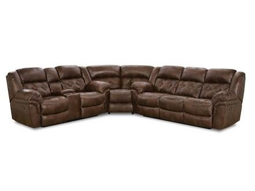 HomeStretch 129 Casual Super-Wedge Sectional with Tufted Seats and ...