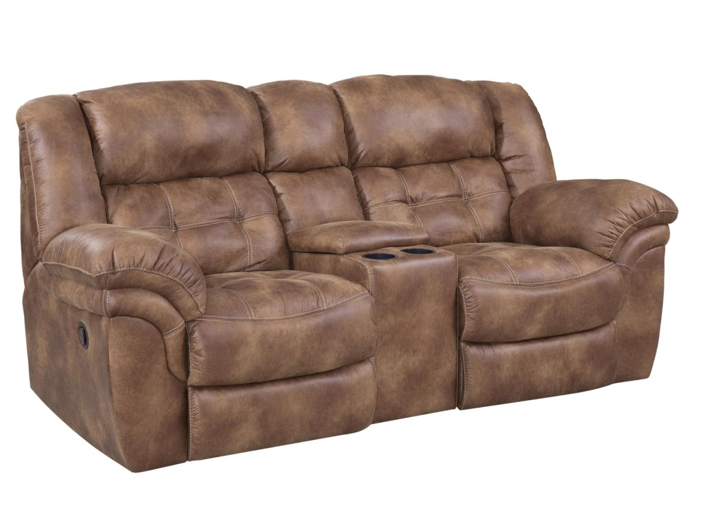 HomeStretch 129Reclining Power Console Loveseat