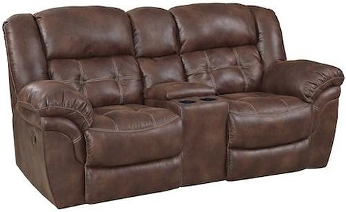 HomeStretch 129 Casual Reclining Console Loveseat with Cupholders