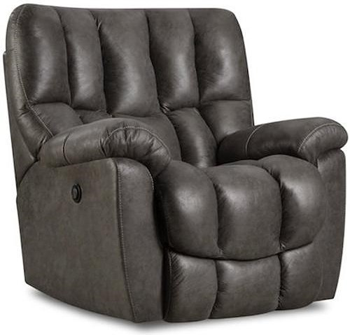 HomeStretch 133-91 Casual Rocker Recliner with Overstuffed Biscuit Back Design