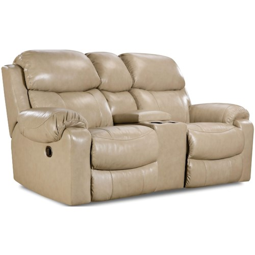 HomeStretch 135 Collection Reclining Console Loveseat