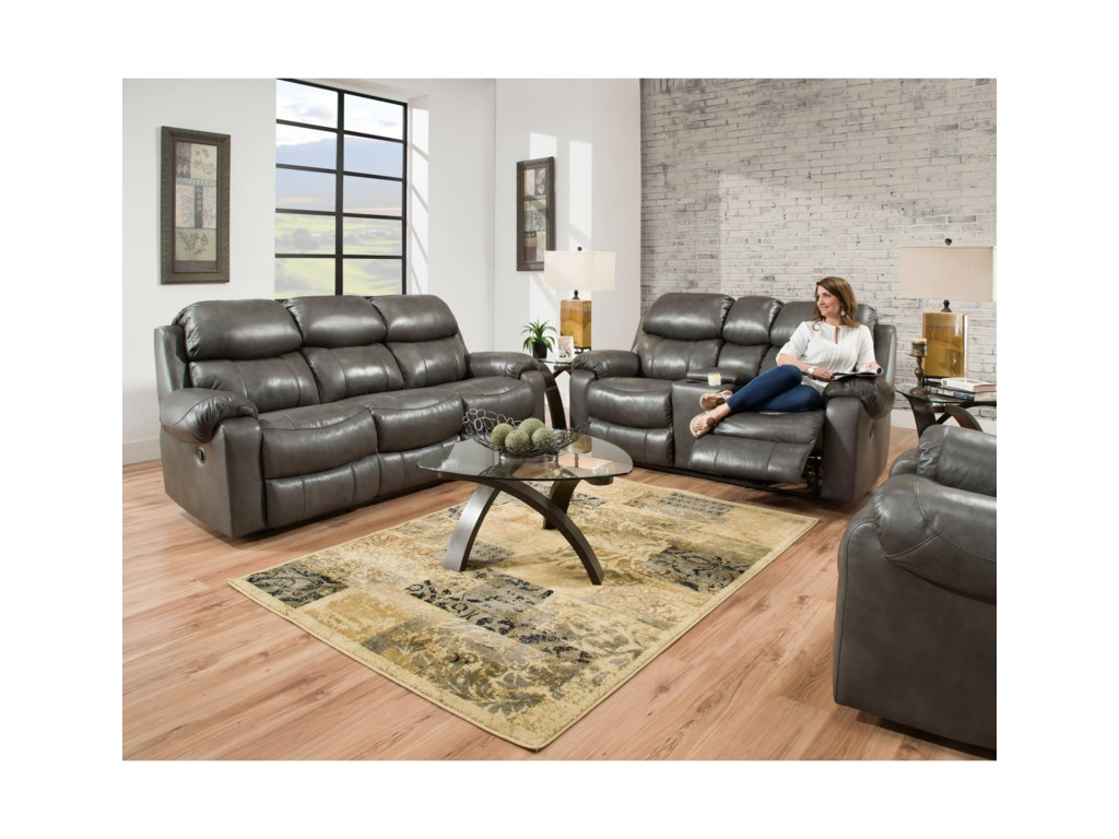 HomeStretch 135 CollectionDouble Reclining Sofa