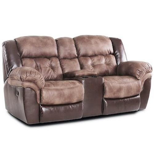 HomeStretch 139 Casual Power Reclining Loveseat with Console