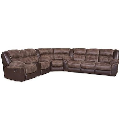 HomeStretch 139 Casual Sectional with Storage Console and Cup Holders