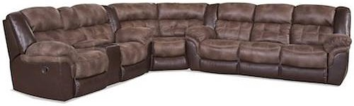 HomeStretch 139 Casual Power Sectional with Storage Console and Cup Holders