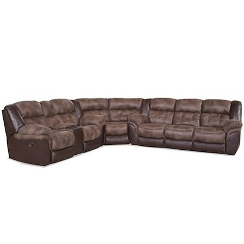Elegant HomeStretch 139 Casual Sectional With Storage Console And Cup Holders