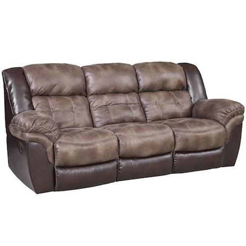 Casual Power Reclining Sofa with Pillow Top Arms