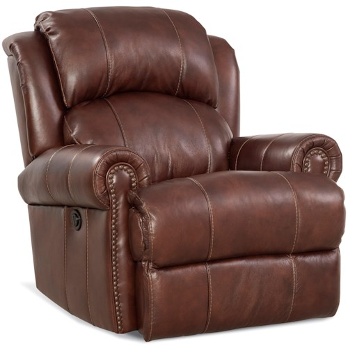 HomeStretch 164 Collection Traditional Power Rocker Recliner with Nailhead Trim