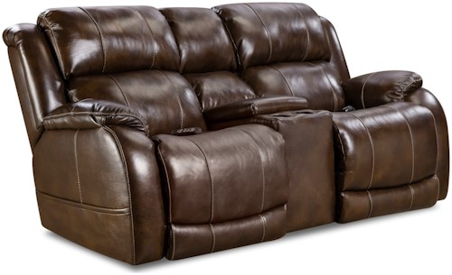 HomeStretch 170 Collection Power Reclining Loveseat with Center Console