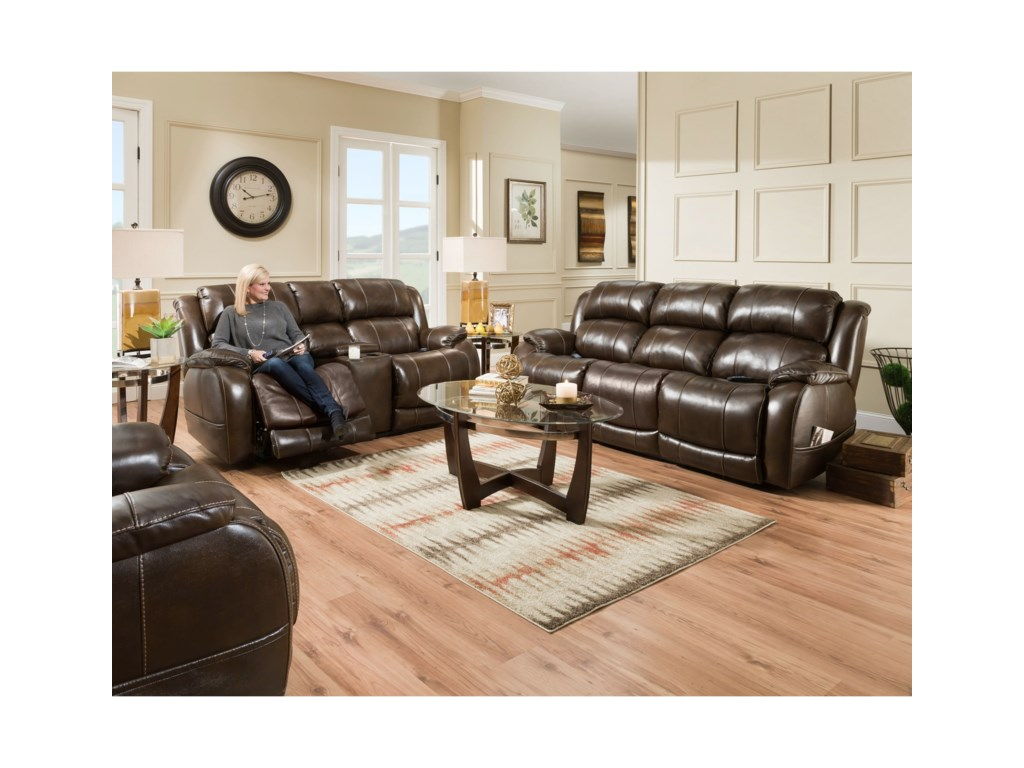 HomeStretch 170 CollectionPower Reclining Console Loveseat