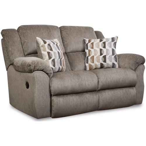 HomeStretch 173 Casual Reclining Loveseat with Pillow Arms