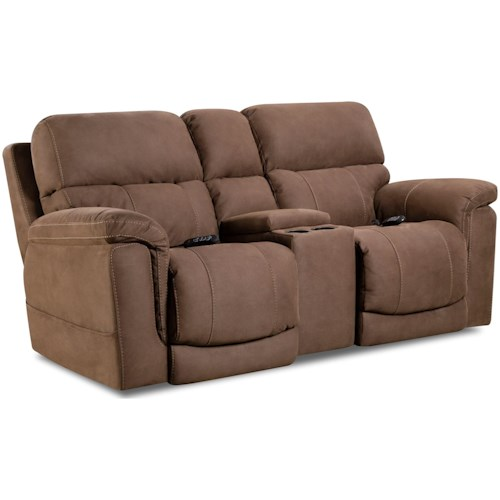 HomeStretch 175 Collection Power Reclining Loveseat with Center Console