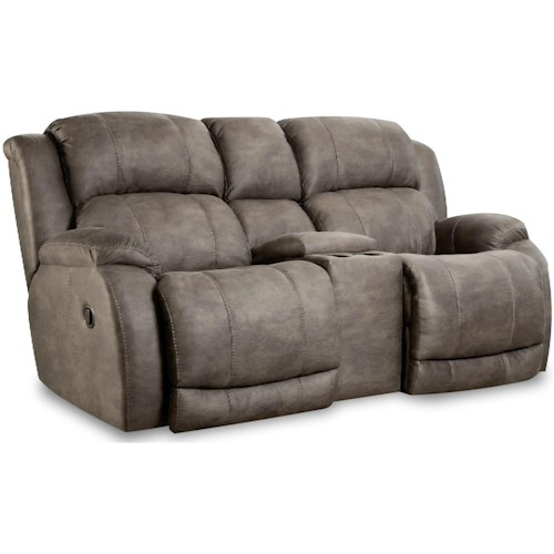 HomeStretch 177 Reclining Console Loveseat with