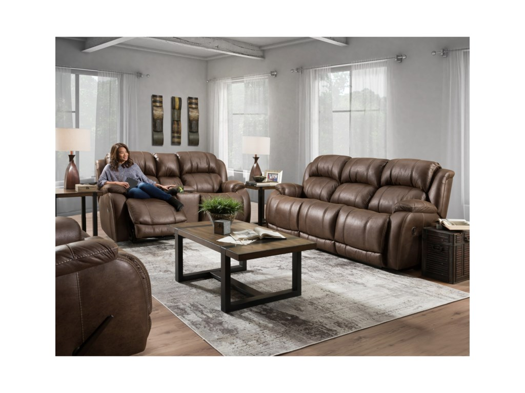 HomeStretch DenaliReclining Console Loveseat