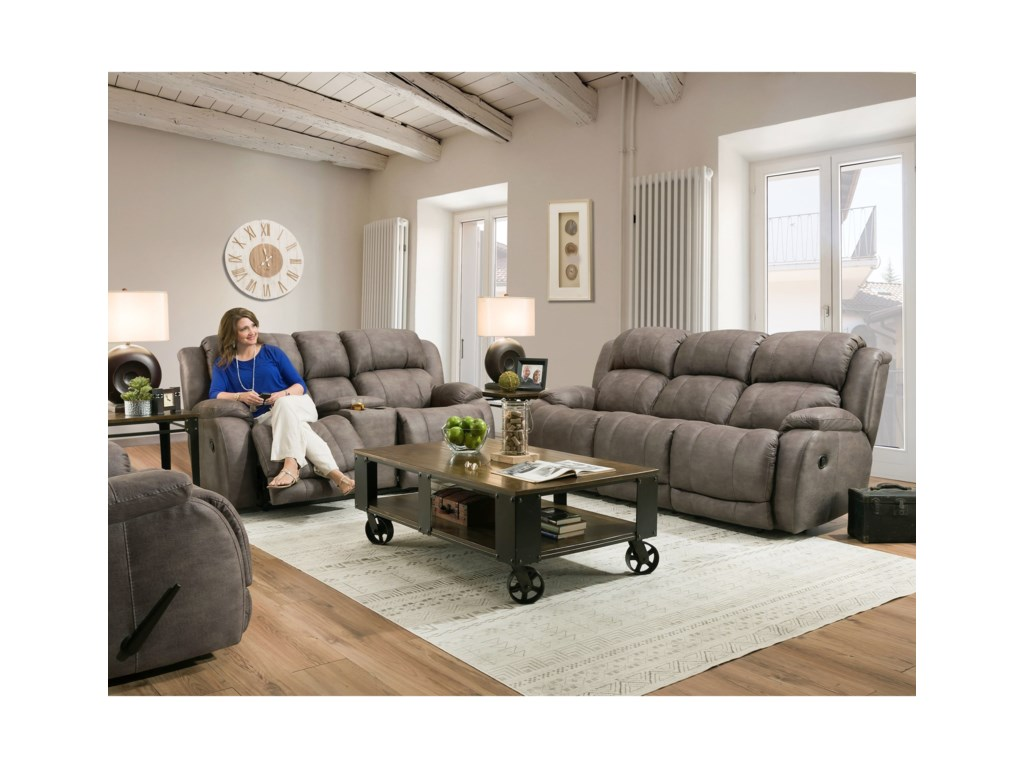 HomeStretch DenaliPower Reclining Console Loveseat