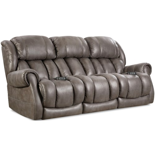 HomeStretch Atlantis Casual Power Reclining Sofa with Rolled Padded Arms