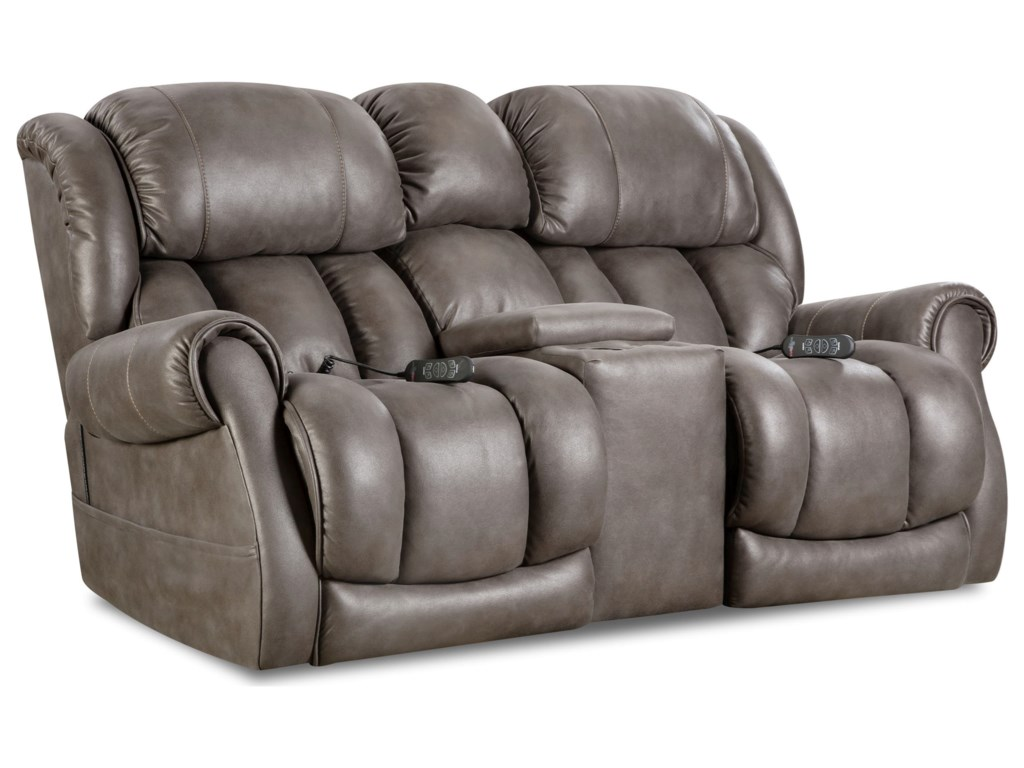 HomeStretch AtlantisPower Reclining Console Loveseat