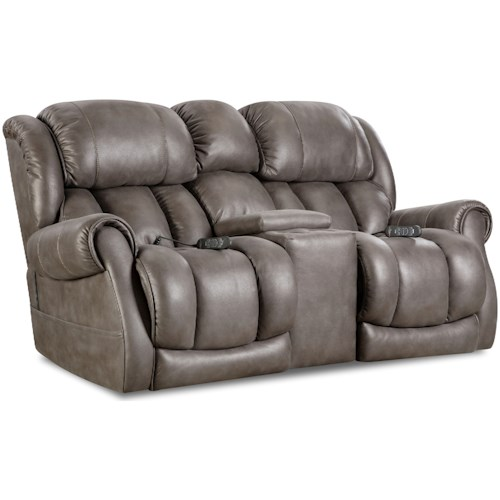 HomeStretch Atlantis Casual Power Reclining Console Loveseat with Cup Holders