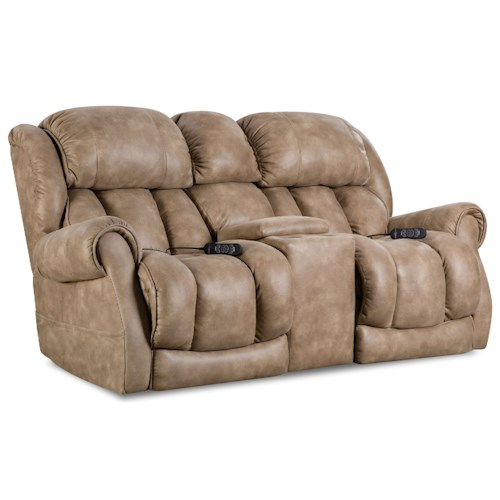 Homestretch Atlantis Casual Power Reclining Console Loveseat With Cup Holders Bullard
